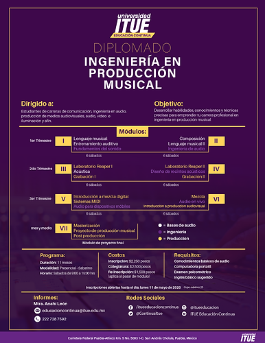 PLAN diplomado produccion musical puebla