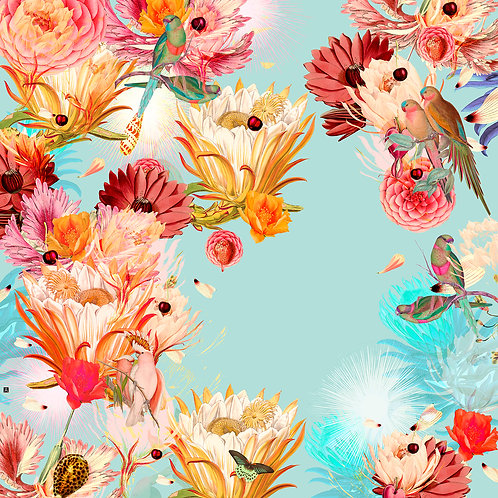 Parrots and shines in light blue
