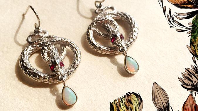 The Sterling Silver Snake Earrings