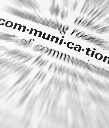 Close-up of  the  word Communication..jp