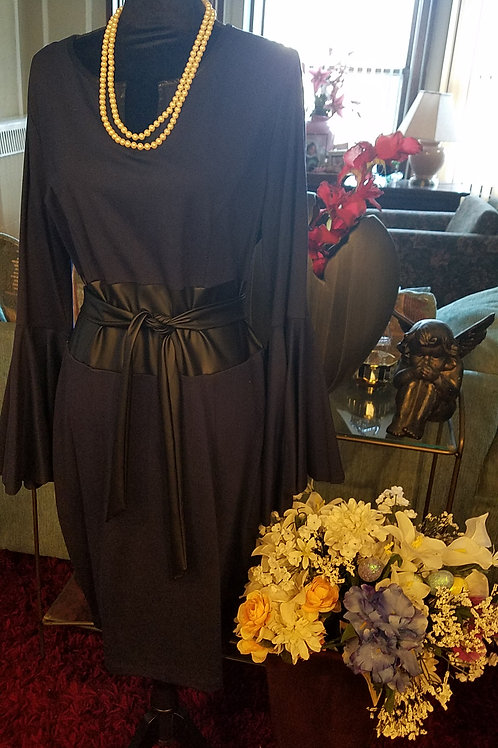 Sleeve Detail Belted Dress
