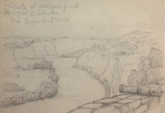 Desde el antiguo fuerte San José de Alcudia. Río Bueno. 2 de agosto de 1938