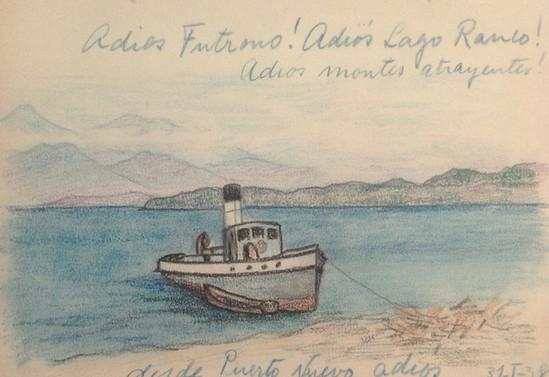 Adiós Futrono! Adiós lago Ranco. Adiós montes atrayentes! Desde Puerto Nuevo, adiós. 31 de enero de 1938. Época en que es misionero en los campos