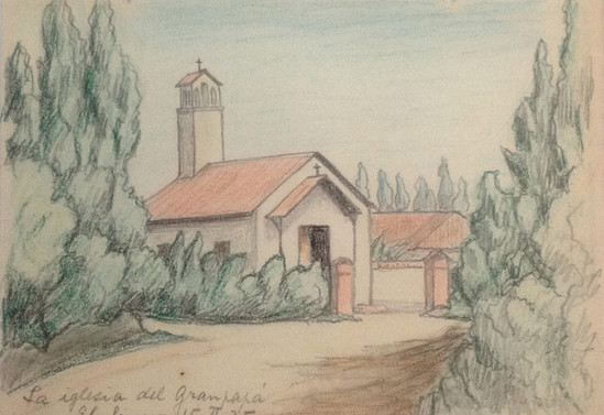 La iglesia del Granpapá. El Sauce. Era un fundo de su abuelo Ramón Subercaseaux. 15 de febrero de 1935