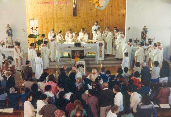 Misa funeral de monseñor Francisco Valdés en Pucón, 1982