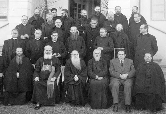 Reunión del clero del Vicariato Apostólico de la Araucanía. Hacia 1950