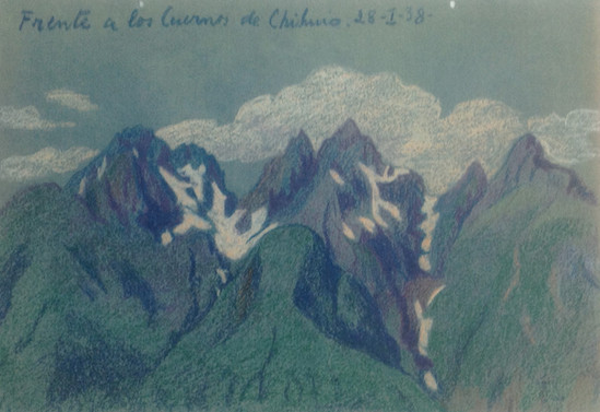 Frente a los cuernos de Chihuio. Región de los Ríos. 28 de enero de 1938