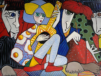 The Guitarist and violinist by Thailand based artist Ta Byrne available at MASA-UK Art Gallery, Greater Manchester and Artsy.net/masa-uk