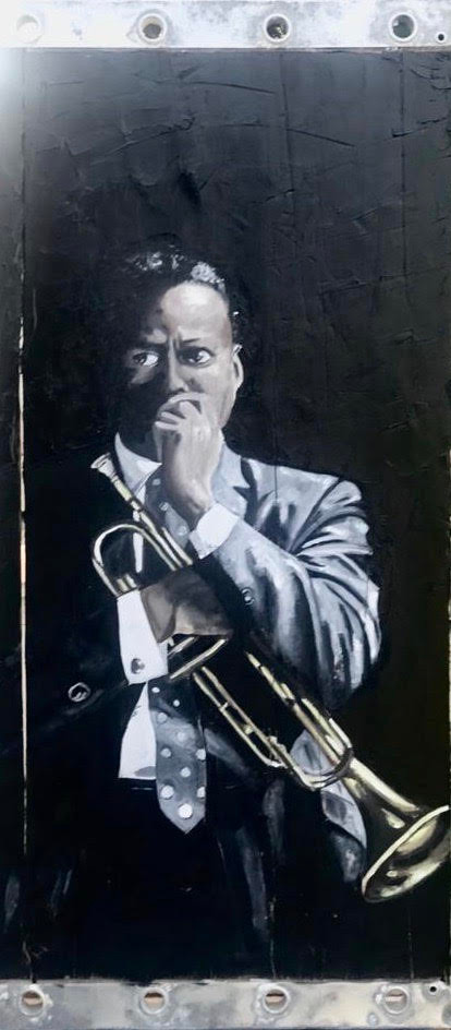 Miles Ahead, oil on constructional wood, jazz musician by Michael Viger