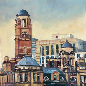 Old Fire Station, Manchester based in the Manchester city centre, original oil on board by Jane Fraser, exhibted at MASA-UK Art Gallery in Bury, Lancashire, This stunning view of Manchester's Old Fire Station caught my eye from a moving train leaving Piccadilly Station. What looks like a fairytale tower was in fact built in 1906 for drying fire hoses. In addition to a fire station, the building also included a police station, an ambulance station, a bank, a coroner's court, and a gas-meter testing station. It housed the firemen, their families, and the horse-drawn appliances that were replaced by motorised vehicles a few years after its opening. Semi-derelict for much of the last three decades, the building is undergoing a spectacular renovation into a hotel, apartments and shops.