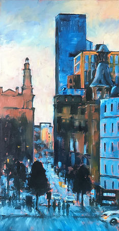 Whitworth Street Dusk, Manchester, a original oil painting from one of the city's most commutable areas