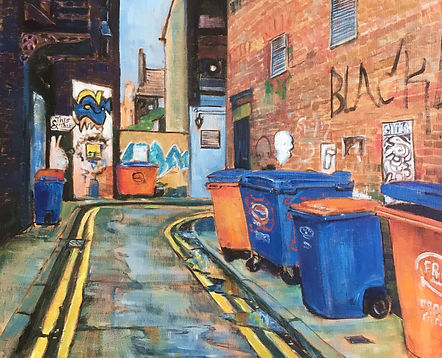 Soap street bins, Northern Quarter Manchester by Jane Fraser, exhibited at MASA-UK Art Gallery in Bury, Soap Street is a tiny dog-leg alley in Manchester's historic Northern Quarter. Home to the tiny 'This 'n That' Indian cafe. An evocative combination of graffiti, bins, fire escapes and peeling posters. Long may it escape the creeping tide of demolition and modernization...