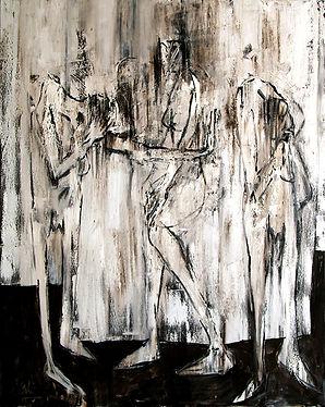 THE THREE GRACES 2011, original art at the Edinburgh Art Fair 2018. Gibraltarian artists from MASA-UK Art Gallery in Bury