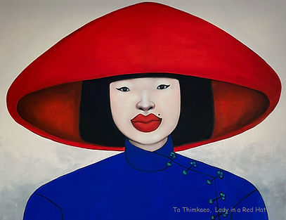 Lady in a red hat by Thailand based artist Ta Byrne now at MASA-Uk Art Gallery, Bury, Manchester