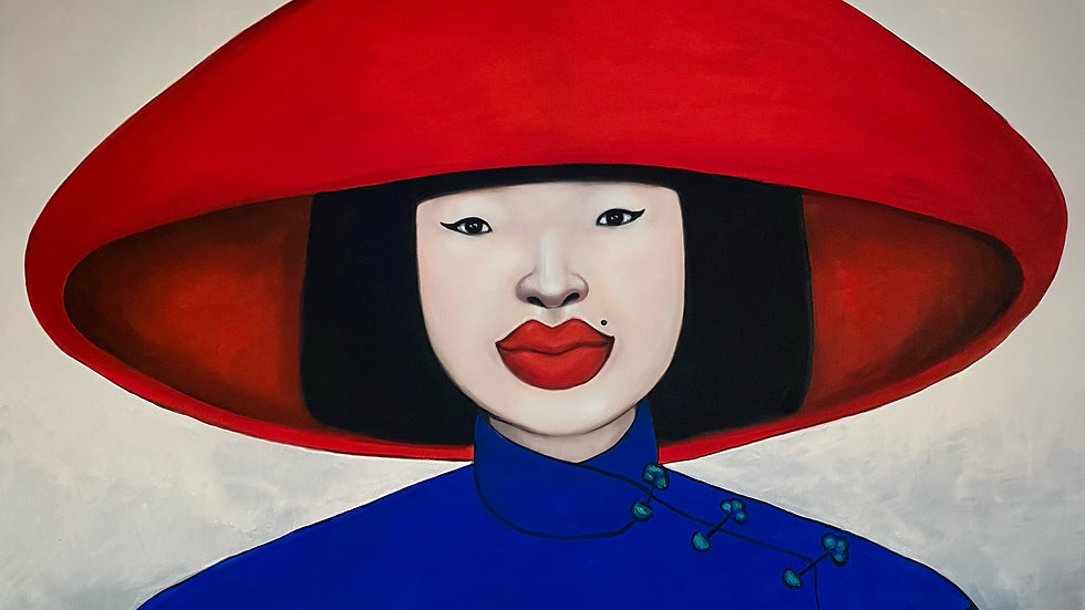 Lady in a Red Hat by Ta Thimkaeo