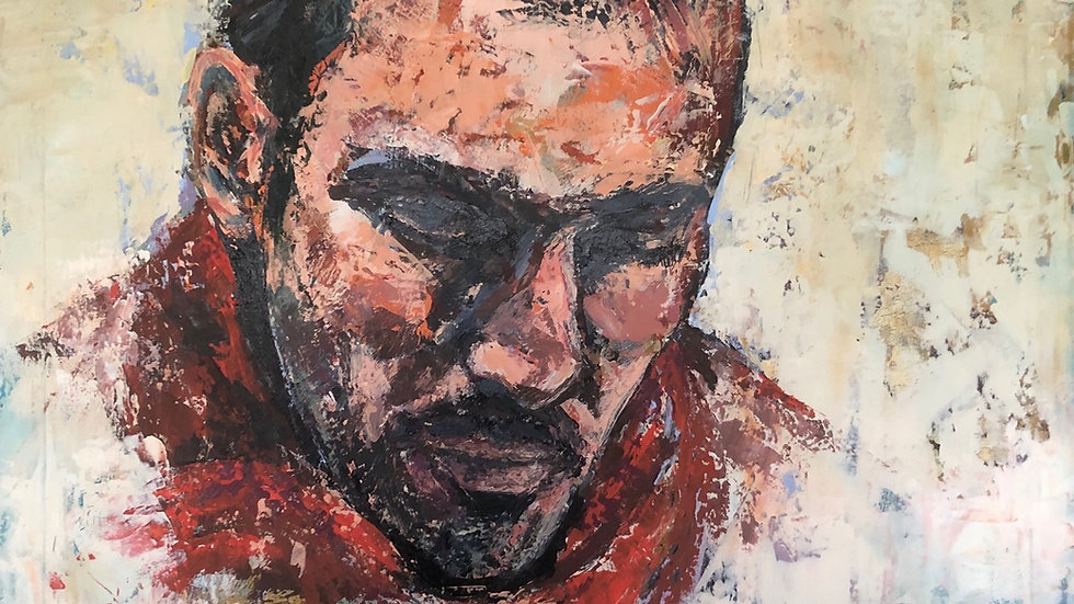 Original art_acrylic on canvas_Male figure_figurative art_white,red,black colours_Bury_MASA-UK Art Gallery_Yorkshire artist