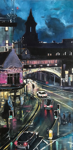 Deansgate Nocturne, A slice of city life, captured from Deansgate-Castlefield station one cold December afternoon just as the light was fading. Sparkling lights hold the promise of a warm welcome from the Atlas bar, while commuters hurry home