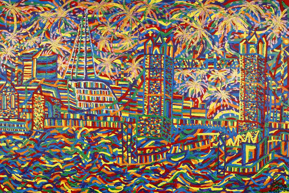 LIsa Levine colourful cityscape at MASA-UK Art Gallery