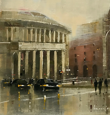Central Library Manchester, original art oil on canvas board, 42cm x 42cm