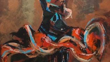 Dancer_Blue, red, brown colour_original art_female figure_acrylic on canvas_Bury_British artist_Yorkshire artist_MASA-UK