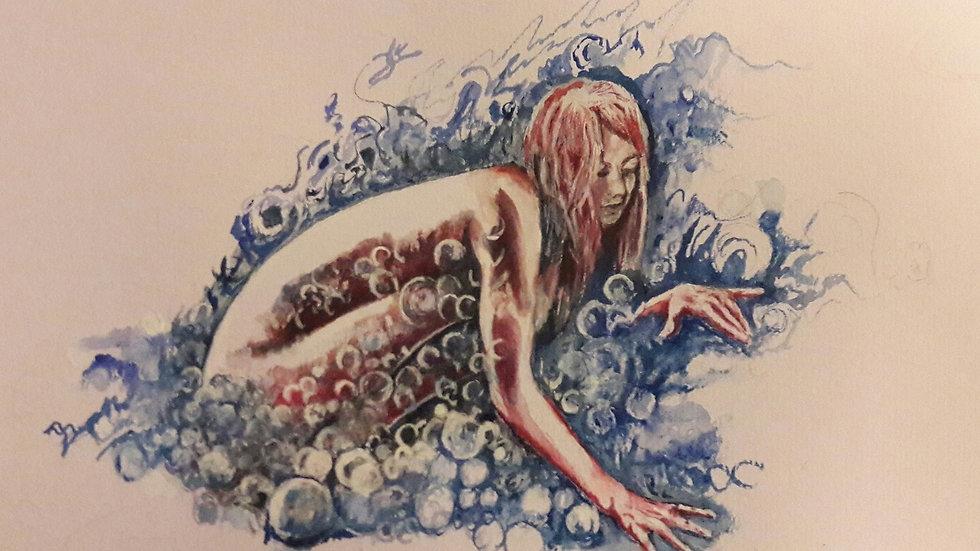 Original watercolour, art, original art goddess woman, Bury, UK
