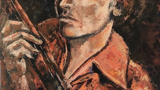 Rock_Original art_acrylic on canvas_Musician art_Bury_Heather Burton_MASA-UK Art Gallery_brown, red, dark colours_Manchester