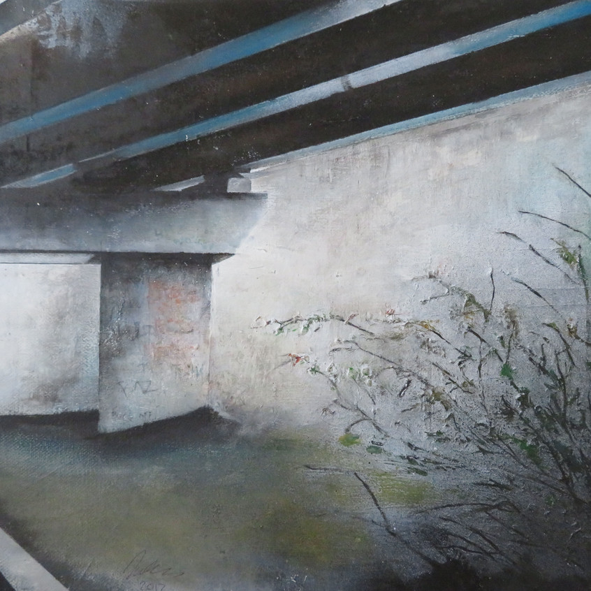 Bridge by Iwan Evans, oil on canvas, 40c