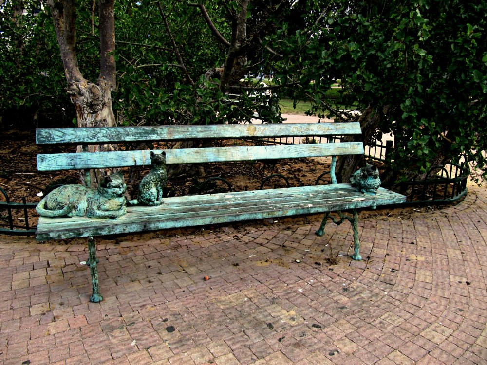 Story: Two Cats on a Bench - at Story Garden in Holon