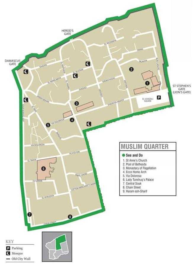 Old City of Jerusalem - Muslim Quarter - Map taken from Wikipedia