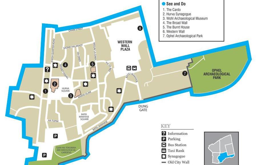Old City of Jerusalem - Jewish Quarter - Map taken from Wikipedia