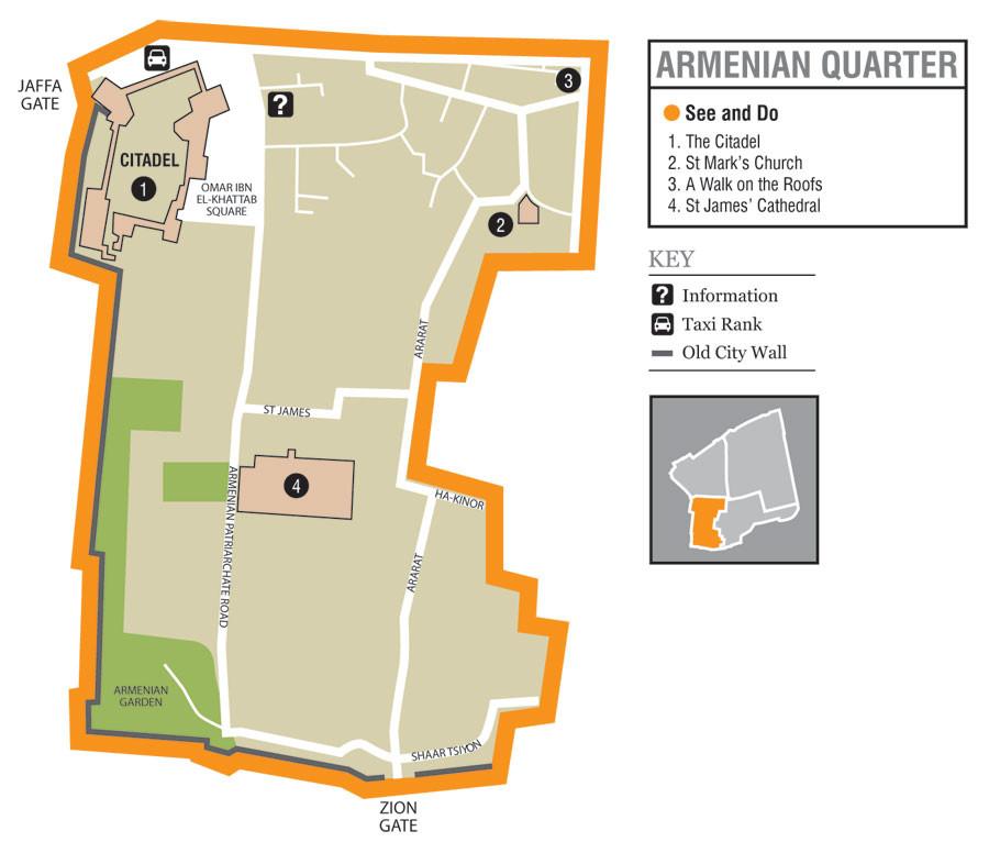 Old City of Jerusalem - Armenian Quarter - map taken from Wikipedia