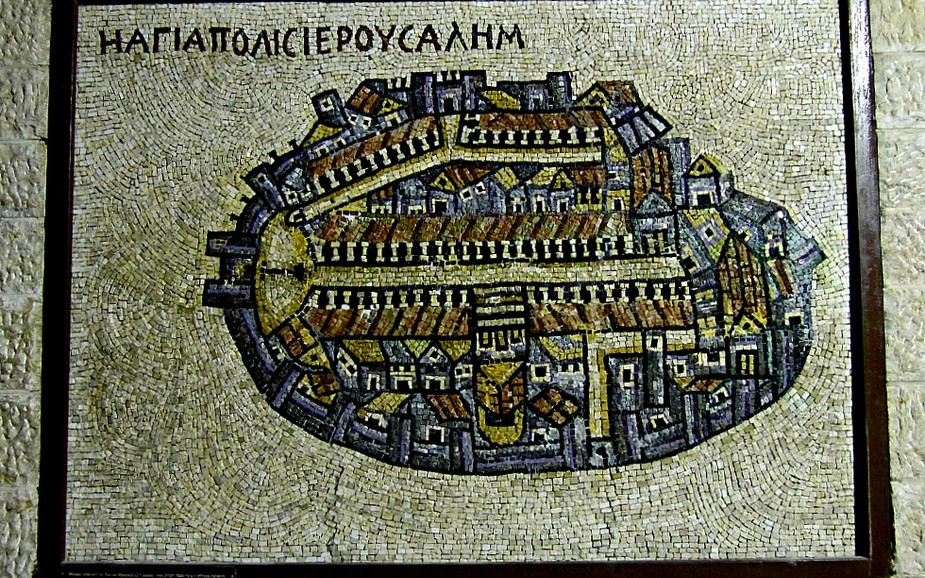 Byzantine Cardo in Jerusalem - Madaba Map showing Roman Cardo in Jerusalem