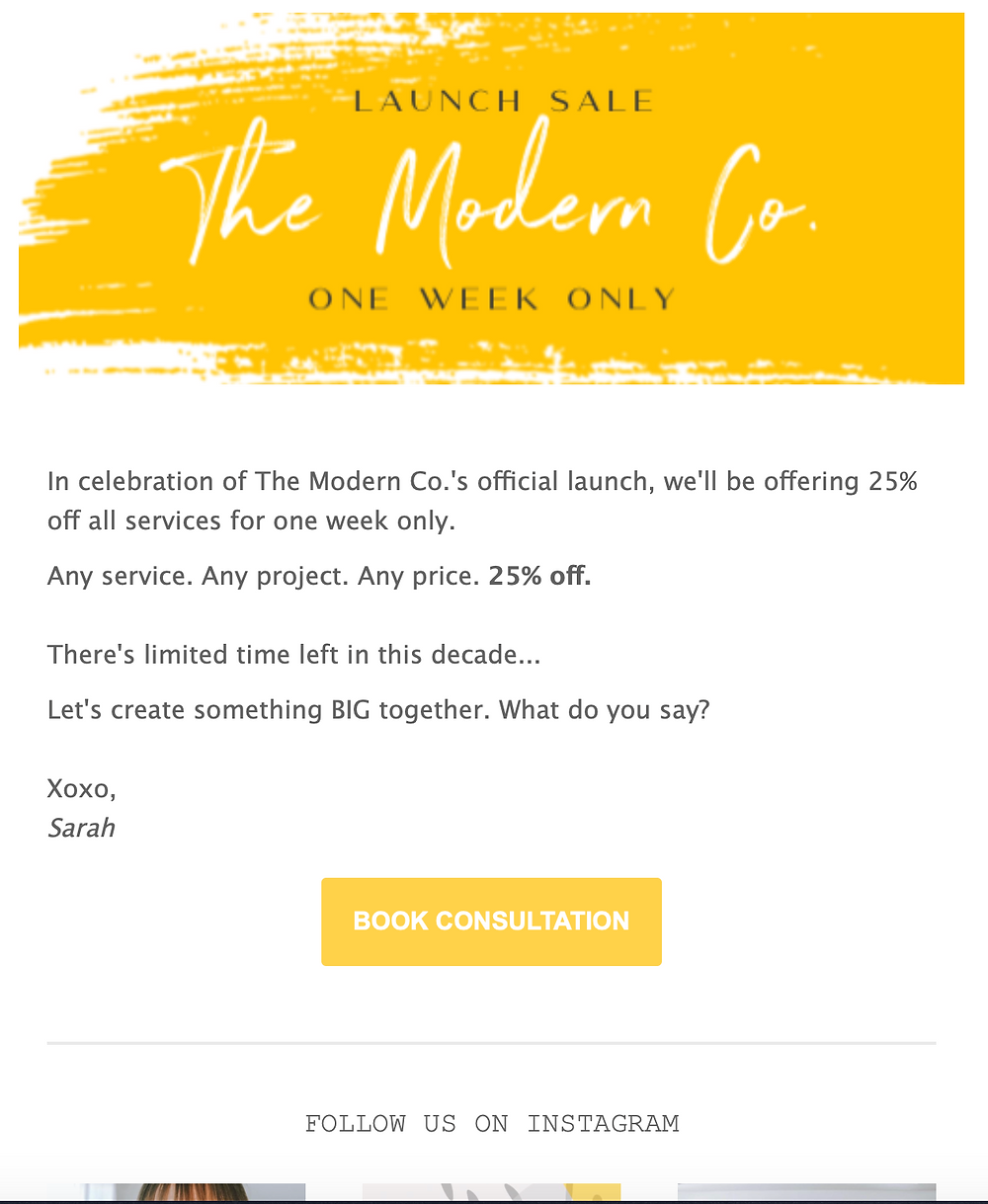 the modern co mail chimp email