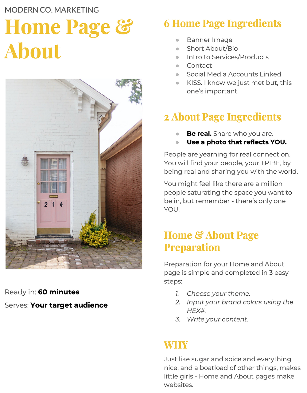 how to create the best home and about website pages