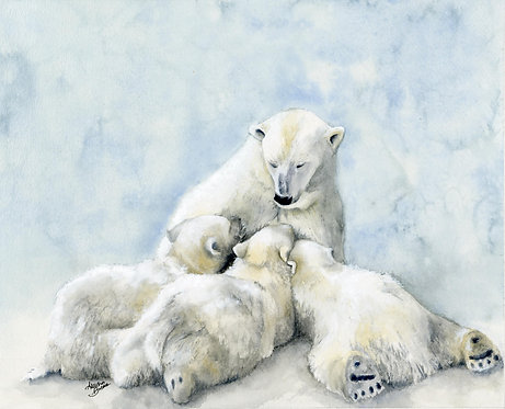 Nursing Polar Bear Cubs Painting