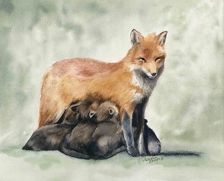 Nursing Mother Fox Painting