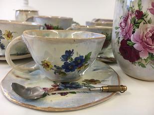 blue flower hand made tea set