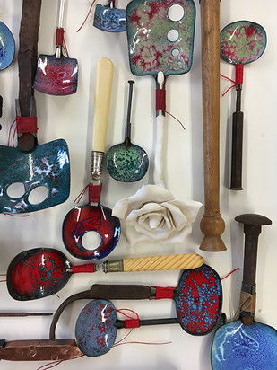collection of hand made spoons