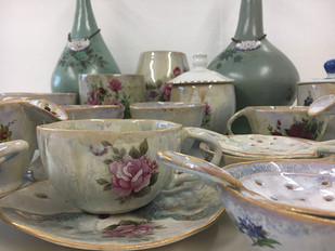 group of tea sets art hand made