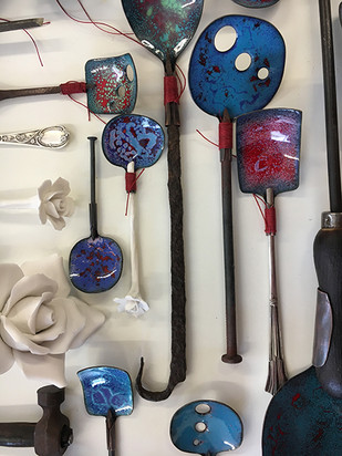 blue and roses spoons
