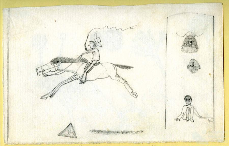 Drawings by Charlie Flanagan of his memories of working as an aboriginal stockman. No photo's could be found of Charlie, These drawings were sketched whilst he was Incaracerate at Fanny Bay prison