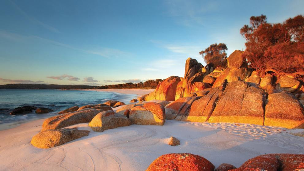 Bay of Fires, Tasmania is known as  larapuna to traditional aboriginal owners