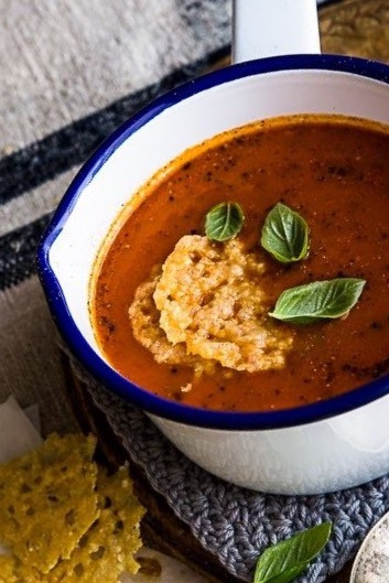 Bush Tomato Soup with Parmesan Crisps