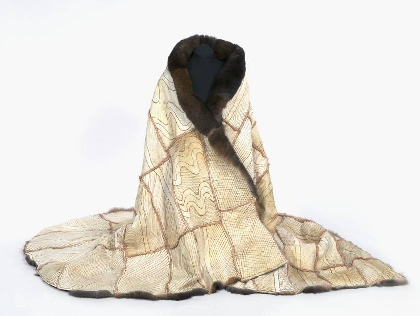 Reproduction of a possum skin cloak collected in 1853 from Maiden's Punt, Indigenous Australian clothing history