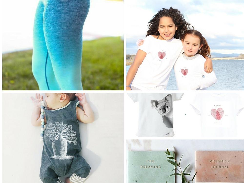 Salt water dreaming active wear pants, Téa&Belle, Boab Baby Onesie, Peekaboo Koala Onsie, The dreaming Journal.