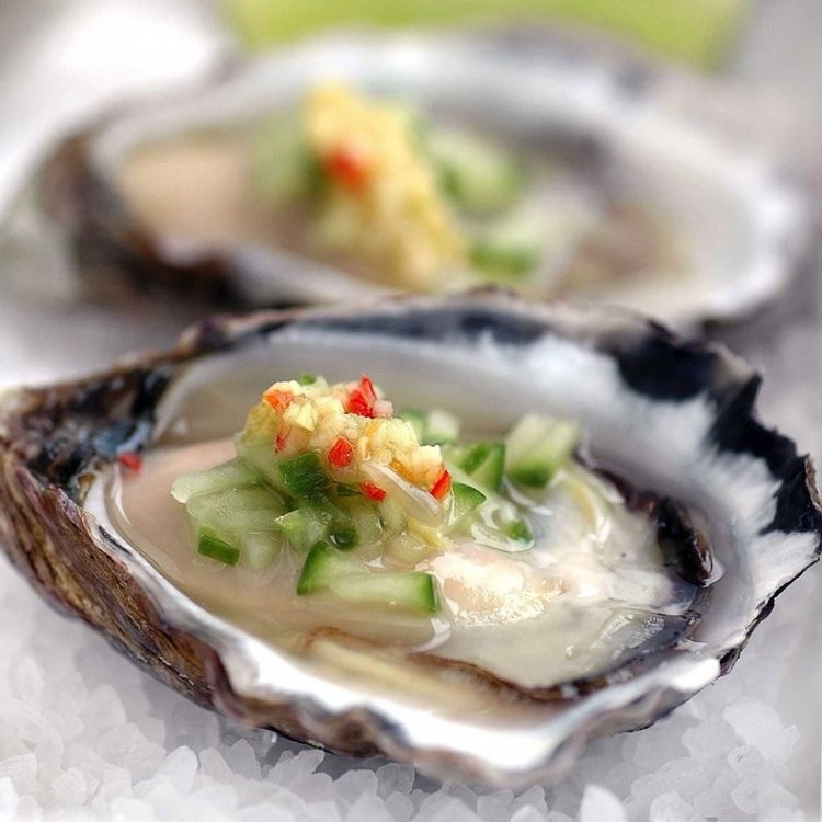 Oysters with Australian Finger Limes, Cucumber & Chilli