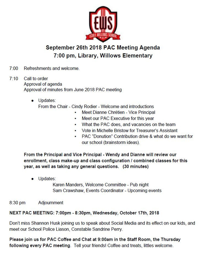 Sept 26 PAC Meeting Agenda