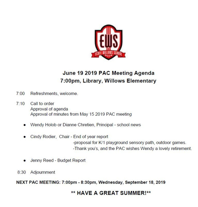 June 19 PAC Meeting Agenda