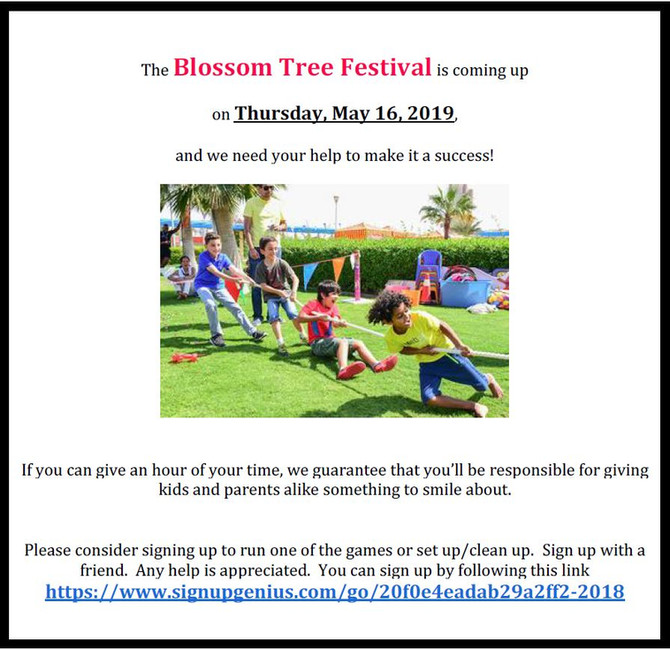 Volunteers needed for the Blossom Tree Festival!
