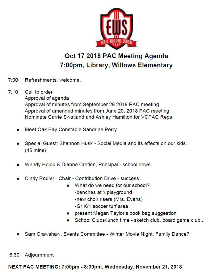 October 17, 2018 PAC Meeting Agenda